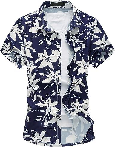 MOGU Camisa Estampada de Manga Corta Hawaiana Hombres