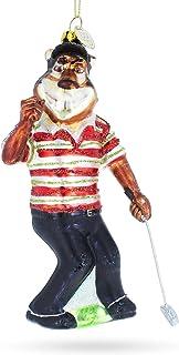 BestPysanky Tiger Playing Golf Glass Christmas Ornament