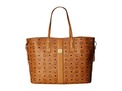 MCM Reversible Liz Large Shopper in Visetos (Cognac 2) Handbags