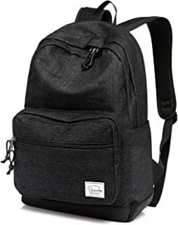 Men's Backpack,Vaschy Unisex Denim Casual Rucksack 15 inch Laptop Travel Backpack Book Bag for Women with Water Resistant Cover Black