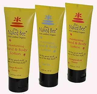 Naked Bee Hand & Body Lotions Orange Blossom Honey Pomegranate & Honey and Chai Tea 2.25 Oz Tubes Pack of 3