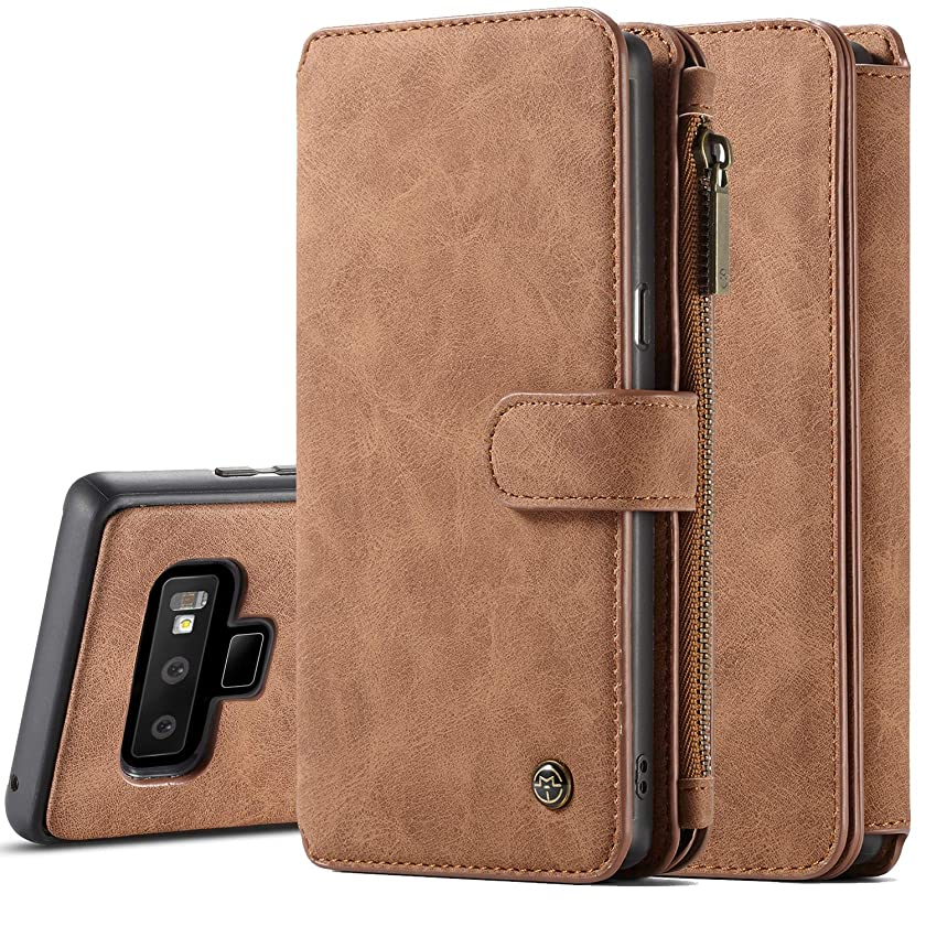 Samsung Note 9 Case, Galaxy Note 9 Magnetic Detachable Wallet Case, XRPow Premium Folio Leather Wallet Case Slim Back Cover with Card Slots Holder for Samsung Galaxy Note 9 (Brown)