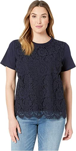 Plus Size Lace Front Cotton T-Shirt