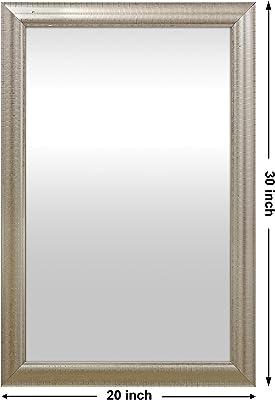 999Store Fiber Framed Decorative Wall Mirror or Bathroom Mirror Silver (30X20)