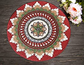 The Home Talk Set of 2 Braided Cotton placemats, Printed Design,15 INCH Round, Best for Bed-Side Table/Center Table, Dining Table/Shelves- Multicolor