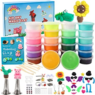 HOLICOLOR 26 Colors (0.7 Ounce Per Box) Air Dry Clay Kit Includes Extra 1 White and 1 Black Clay with Accessories Sets and 5 Tools, Magic Modeling Clay Kits, Kids Gifts Art Set for Boys Girls