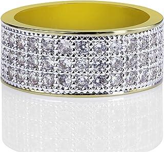 Moca Gioielli Iced out Personalizzato Fashion Ring 18K Oro Placcato Bling C' Simulato Diamond Hip Hop Ring per Gli Uomini
