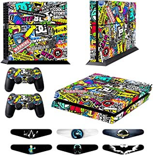 Skins for PS4 Controller - Decals for Playstation 4 Games - Stickers Cover for PS4 Console Sony Playstation Four Accessories PS4 Faceplate with Dualshock 4 Two Controllers Skin - Doodle