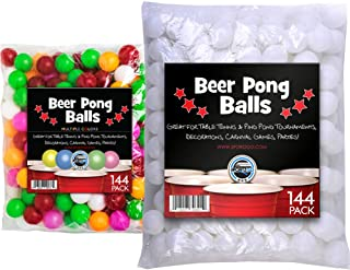 SPORTZGO Beer Pong Plastic Balls Bulk - 144 Pack of Washable Balls for Beer Olympics Drinking Games Table Tenis Carnival Beer Pool Games White Color Ball 38 mm Party Decorations Indoor & Outdoor