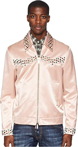 Shiny Cotton Studded Bomber Jacket