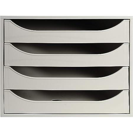 Exacompta - Réf. 228606D – Module à tiroirs ECOBOX - Caisson individuel à 4 tiroirs pour document A4 maxi - Certifié Ange Bleu - Dimensions 34,8 x 28,4 x 23,4 cm – Couleur Gris