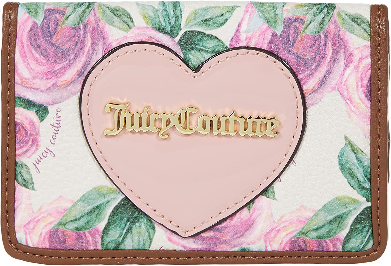 Juicy Couture Whole Lot of Love Flap Card Case White Rose One Size