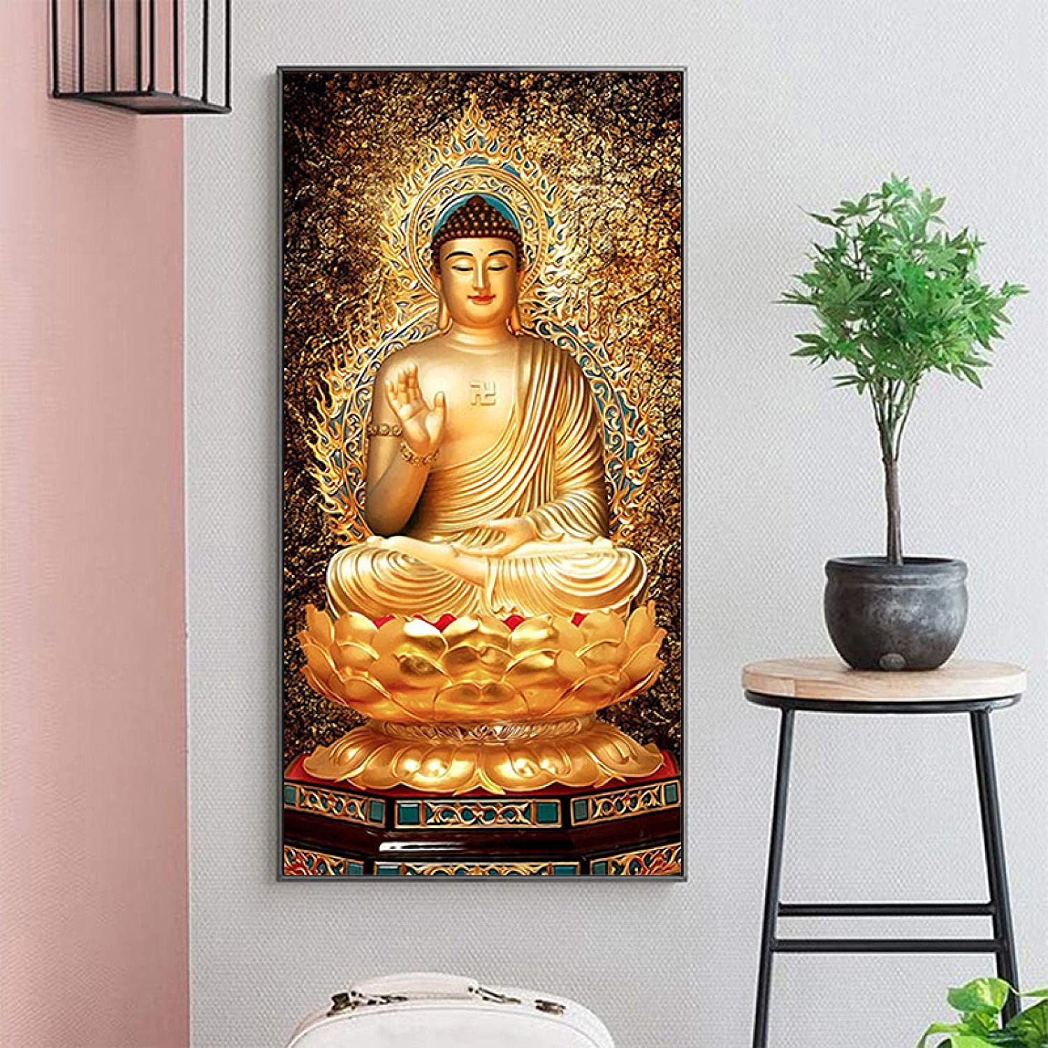 """Golden Buddha Lotus Feng Shui Paintings Wall Art Posters and Prints Canvas Painting Wall Art Pictures Home Decor-27.5 """"x55.1""""(70x140cm)Frameless"""