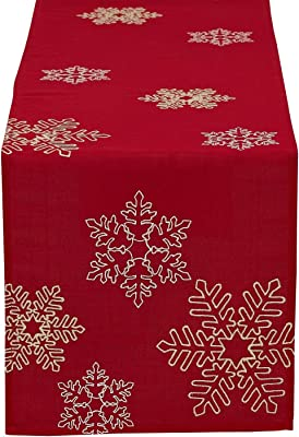 Design Imports DII Shimmering Snowflakes Leaves Embroidered Table Runner - 14 x 70