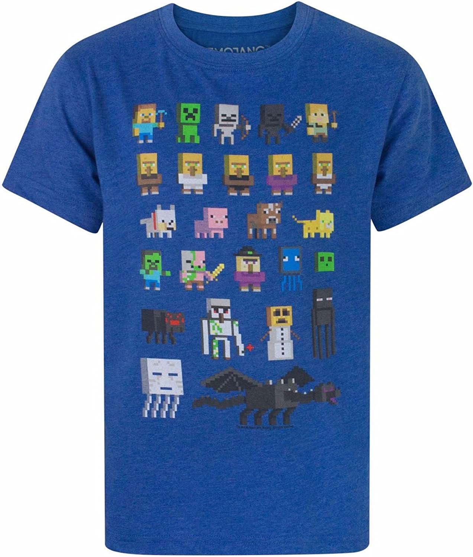 12-13 a/ños Minecraft Camiseta para ni/ños de Sprites,100/% Algod/ón negro