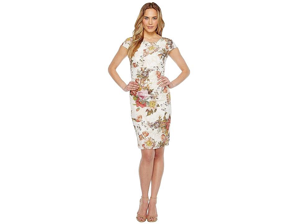 Adrianna Papell Draped Metallic Jacquard Sheath Dress (Rosewood Multi) Women