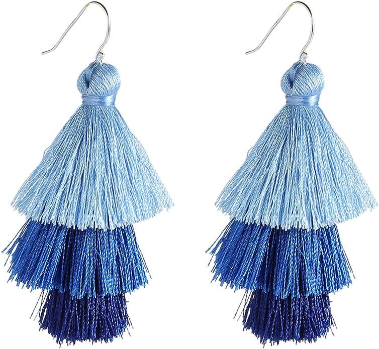 3 Tier Ombre Tassel Earrings Dangle Drop Earrings Red White Blue
