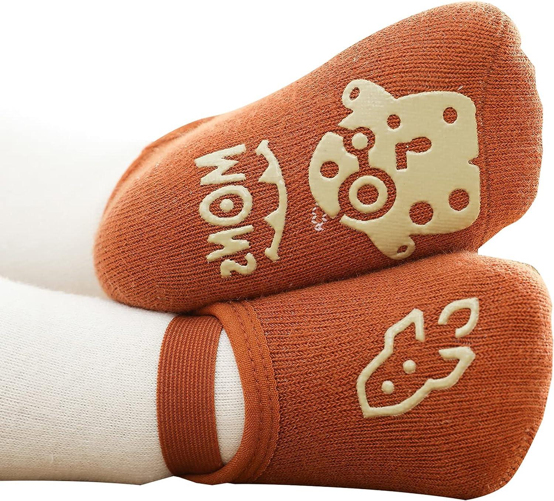 Baby Non Slip Floor Slipper Socks with Elastic band for Boys Newborn Infants Toddlers Kids