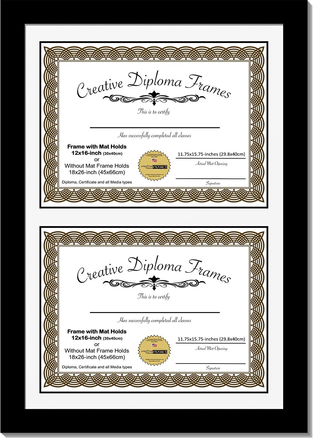 Creative Outlet SALE Picture Award-winning store Frames 12x16 inch Black Diploma Double Classic