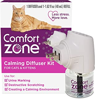 Comfort Zone Cat Calming Diffuser Kit, Cat Pheromone, 1 Diffuser, 1 Refill-48ml, New Formula