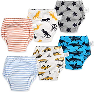6 Packs Cotton Training Pants Reusable Toddler Potty Training Underwear for Boy and Girl Dinosaur-2T