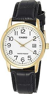 Casio Mens Quartz Watch, Analog Display and Leather Strap MTP-V002GL-7B2UDF