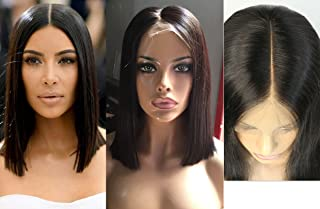 Joywigs Pre Plucked Hairline 130% Density Deep Part Blunt Cut Bob Wig Human Hair Lace Front Wig Short Lace Wig 10inch Natural color