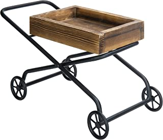 MyGift Decorative Tabletop Rustic Wood Push Cart Design Serving Tray
