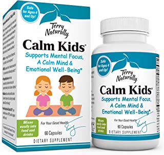 Terry Naturally Calm Kids - 60 Capsules - Childrens Mental Focus Support Supplement, Promotes Calm, Learning & Social Enga...
