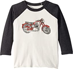 Extra Soft Motorcycle Image Long Sleeve Raglan Tee (Toddler/Little Kids)