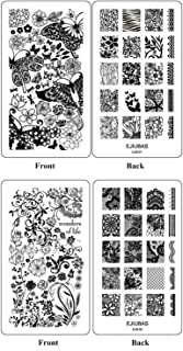 Ejiubas Double-Sided Flower Nail Stamping Plates Nail Art Stamping Kits Image Plates for Nails EJB-01 02
