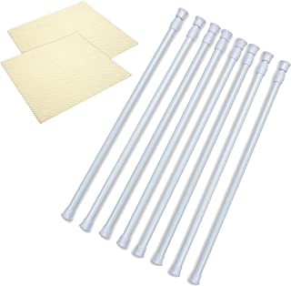 Danily 8 Pack Cupboard Bars Adjustable Spring Curtain Tension Rods 15.7 to 28 Inches, Comes with Non Slip Shelf Liners