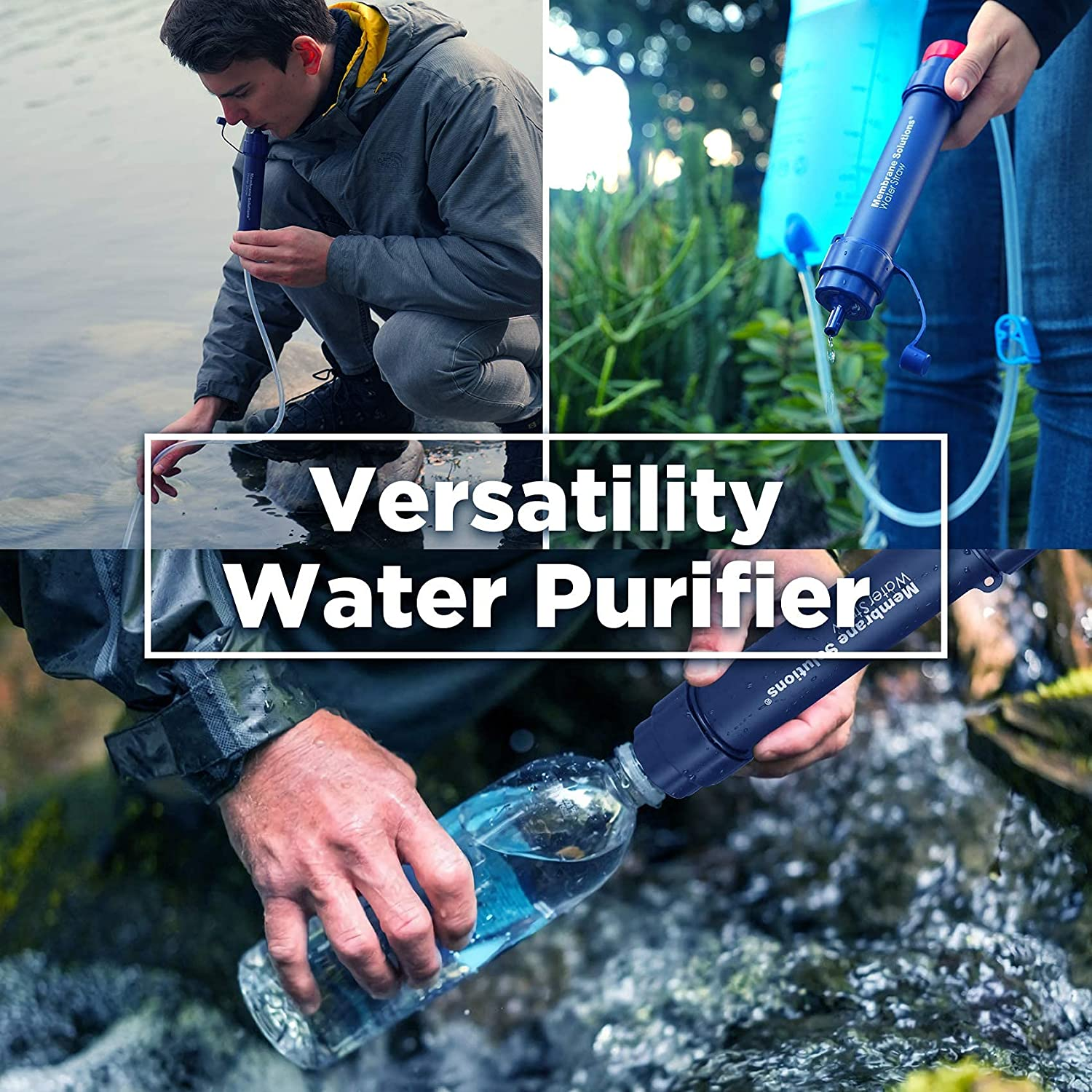 WS02 Personal Water Filter Straw, 0.1 Micron 4-Stage Water Purifier Survival Gear, 3,000L Portable Water Filtration System, Removable Water Filter Hiking Camping Emergency Preparedness, 1 Pack : Sports & Outdoors