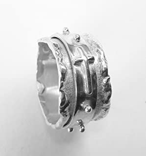 Personalized text - Spinner rosary ring, made ​​entirely by hand, with sterling silver forged and soldered.
