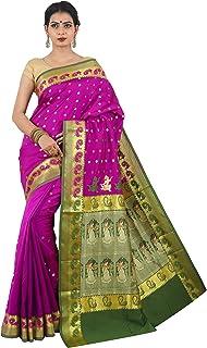 Misal Sarees Women's Handloom Baluchari Silk Saree with Blouse Piece ( Magenta)