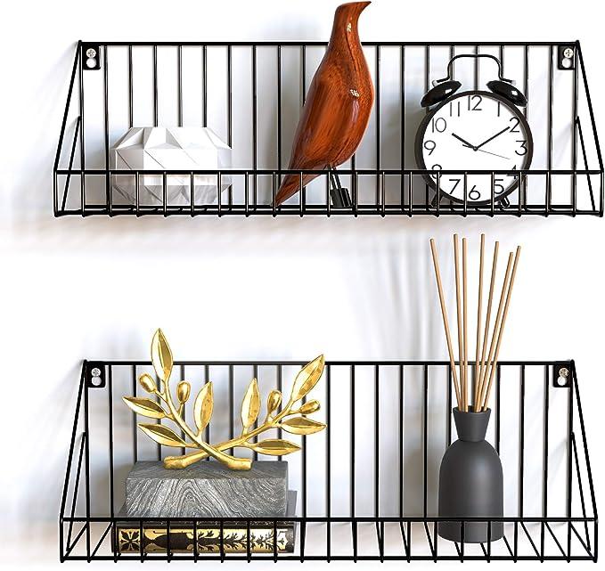 256 opinioni per Gadgy Mensola da Muro Design   Set di 2 scaffali metallo sospesa Nero  