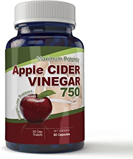 Maximum Potency 750mg Apple Cider Vinegar 60 Capsules - All Natural Weight Loss Supports Natural Detox, Digestion, & Circu...