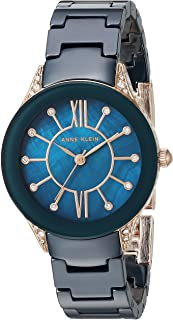 Anne Klein Women's AK/2388RGNV Swarovski Crystal Accented Navy Blue Ceramic Bracelet Watch