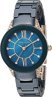 Anne Klein Women's AK/2388RGNV Swarovski Crystal Accented Navy Blue Ceramic Bracelet Watch