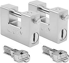 Kurtzy Zware Kwaliteit 1Kg Hangsloten met 10 Sleutels (2pak) – Gehard Solide Stalen Monoblok Slot – 12mm Dikke Pin – Besch...