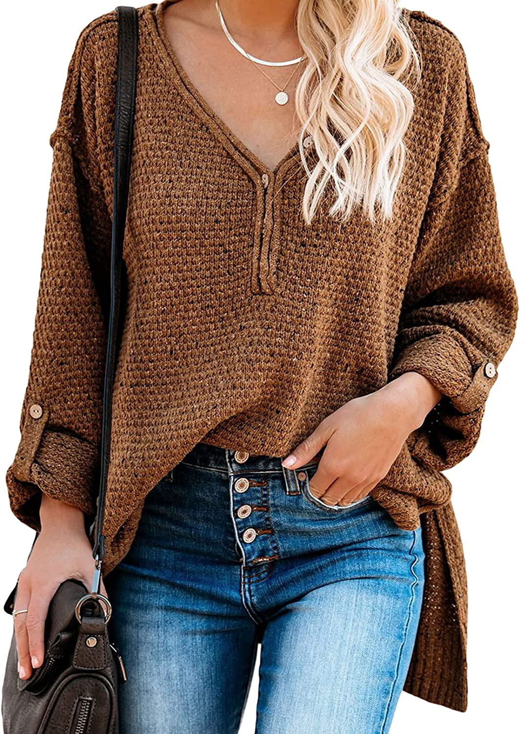 Asvivid Colorful Dots Button Down V Neck Sweaters for Women Roll Up Long Sleeve Knit Pullover Jumper Tops