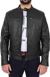 Mens Leather Biker Jacket Cafe Racer Casual Slim Fit Style Milton Black