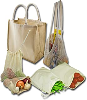 Simple Ecology Farmers Market Shopping Organic Reusable 6 Bag Set - Natural with Brown (produce bags with drawstring, shopping bags with durable handles, gift set or starter set)