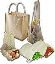 Simple Ecology Organic Reusable Farmers Market Grocery Shopping Bag Set (gift & starter set, durable handles, string produce saver bags, food storage, bulk bin, with tare weight tag and drawstring)