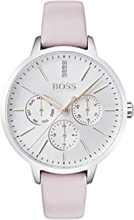 Hugo Boss Black Women'S Silver White Dial Pink Leather Watch - 1502419