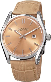 August Steiner Women's Radiant Sunray Dial Watch - with Date Window - Alligator Embossed Genuine Leather Strap Watch - AS8221
