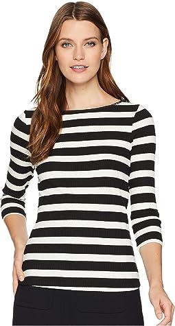 Alpine Stripe 3/4 Sleeve Top w/ Shell Stitch