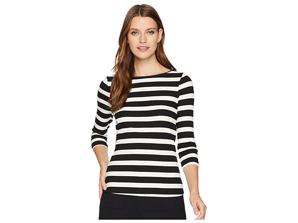 Three Dots Alpine Stripe 3/4 Sleeve Top w/ Shell Stitch (Black/Natural) Women