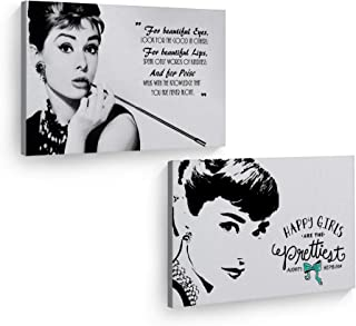 Smile Art Design Audrey Hepburn Wall Art Quote Two Piece Canvas Print Set Breakfast at Tiffany`s Modern Framed Living Room Bedroom Home Decor Ready to Hang Made in The USA 30x40