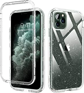 """DUEDUE iPhone 11 Pro Case Clear, 3 in 1 Glitter Shockproof Drop Protection Heavy Duty Hybrid Hard PC Transparent TPU Bumper Full Body Protective Case for iPhone 11 Pro 5.8""""(2019) for Women,Clear"""